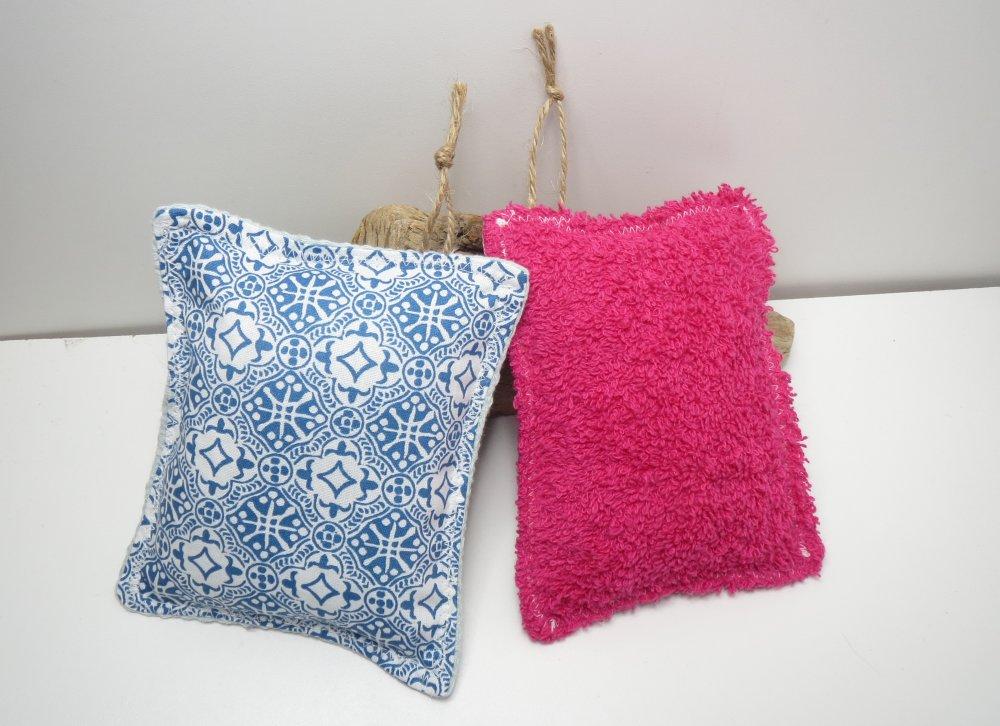 """Éponges lavables et réutilisables,zéro déchet,cousu main,,écologique,lot de 2 éponges """"bleu et rose"""""""