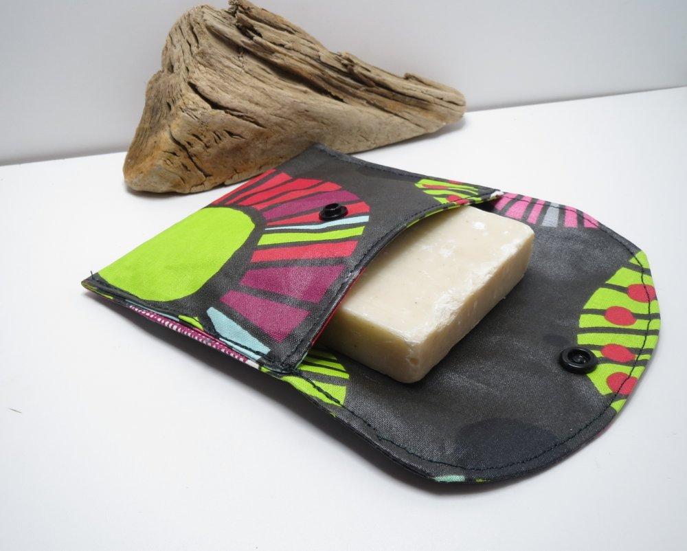 Etui à savon de voyage en coton enduit,range shampoing solide,pochette,kit du voyageur noir