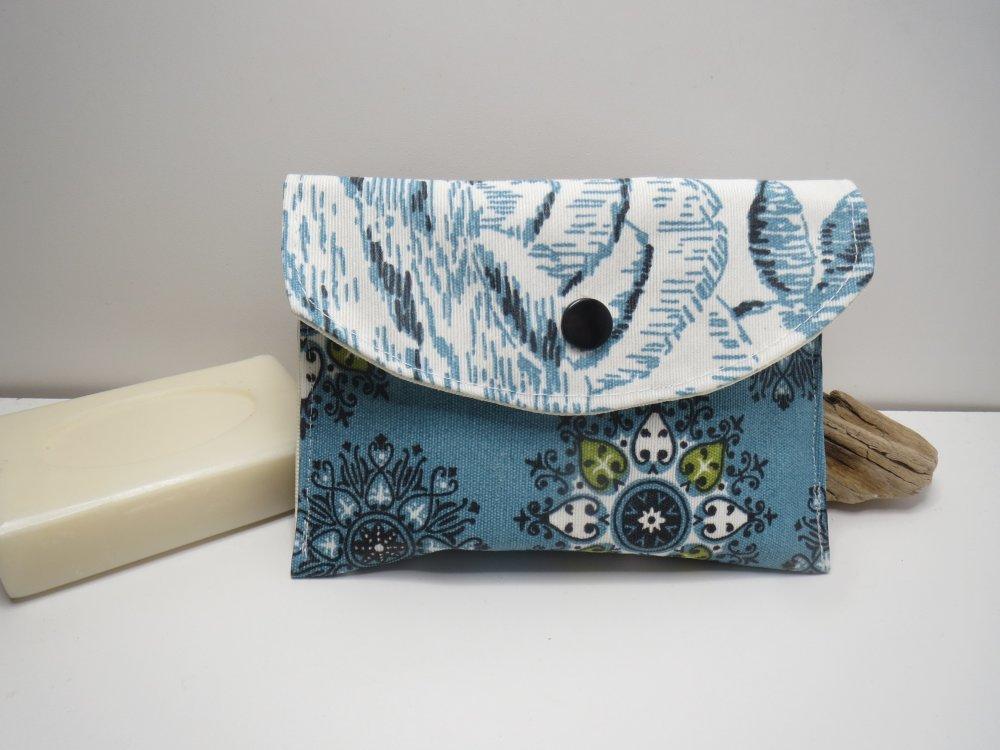 Pochette à savon imperméable en coton enduit,range shampoing solide,pochette,kit du voyageur ,fleurs bleues