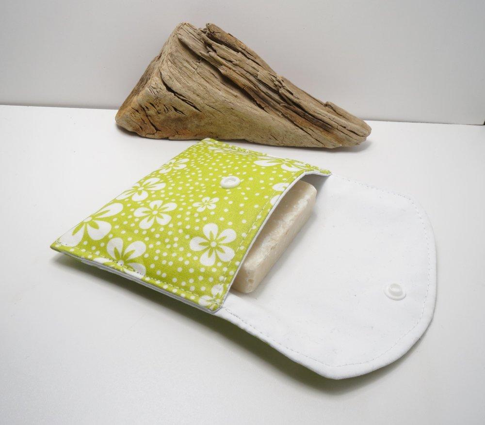 Etui à savon de voyage en coton enduit,range shampoing solide,pochette,kit du voyageur ,fleurs