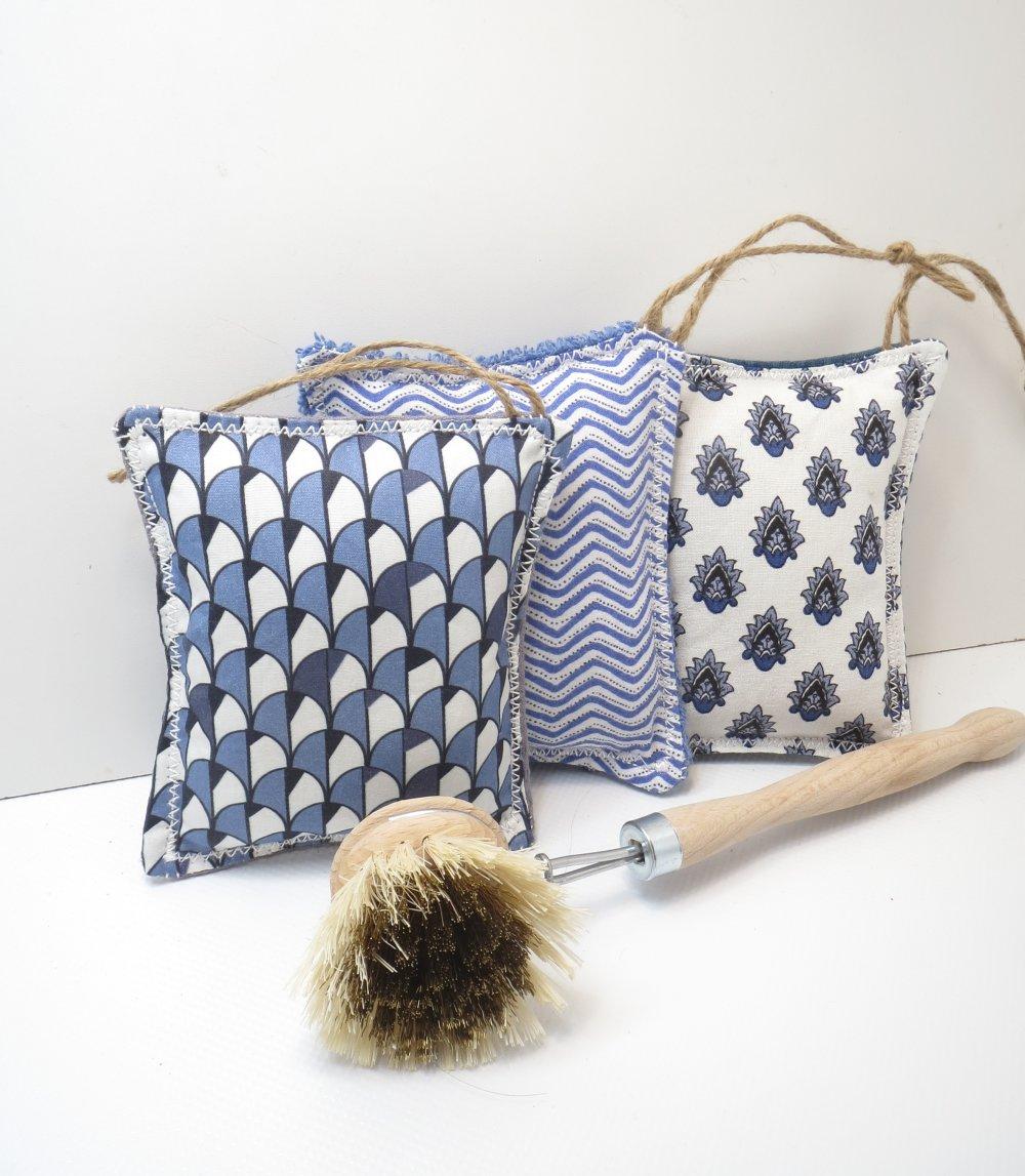 """Éponges lavables et réutilisables,zéro déchet,cousu main,,écologique,lot de 3 éponges """"Provence"""""""
