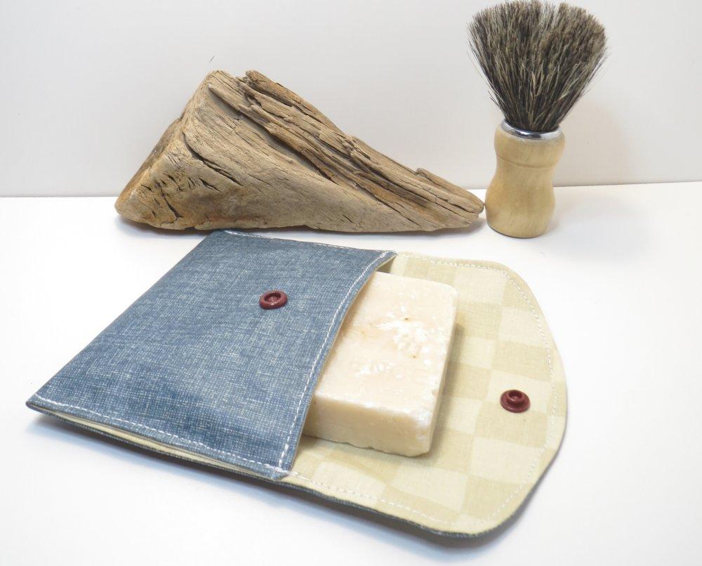 Pochette à savon imperméable, en coton enduit,range shampoing solide,pochette imperméable,zéro déchet,jean