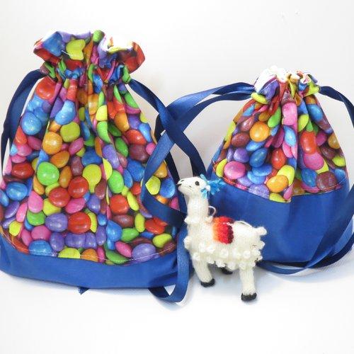 Lot de 2 pochons bleus  bonbons