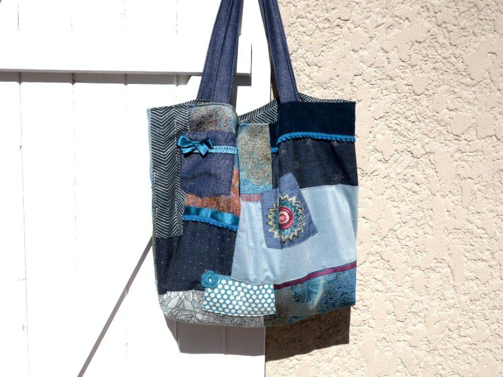 Sac à main / style cabas / tissu / patchwork / printemps