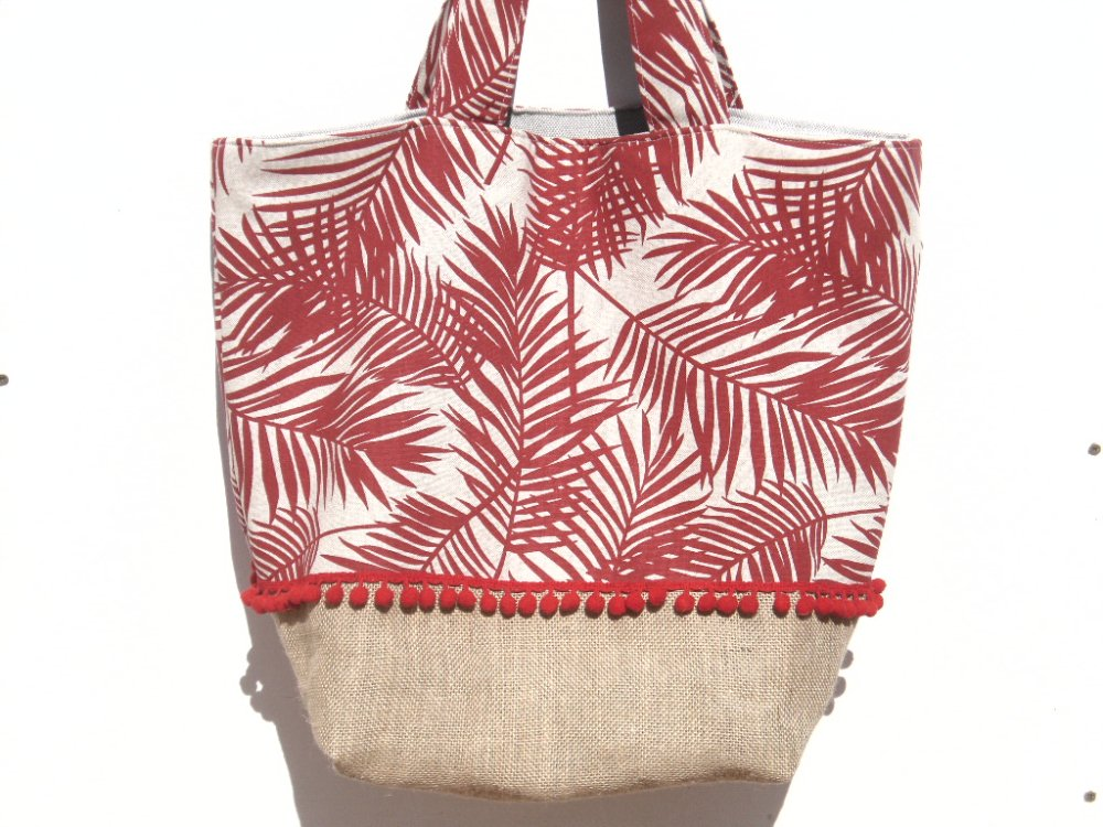 Grand sac / cabas / été / tissu / plage / pique-nique / toile jute