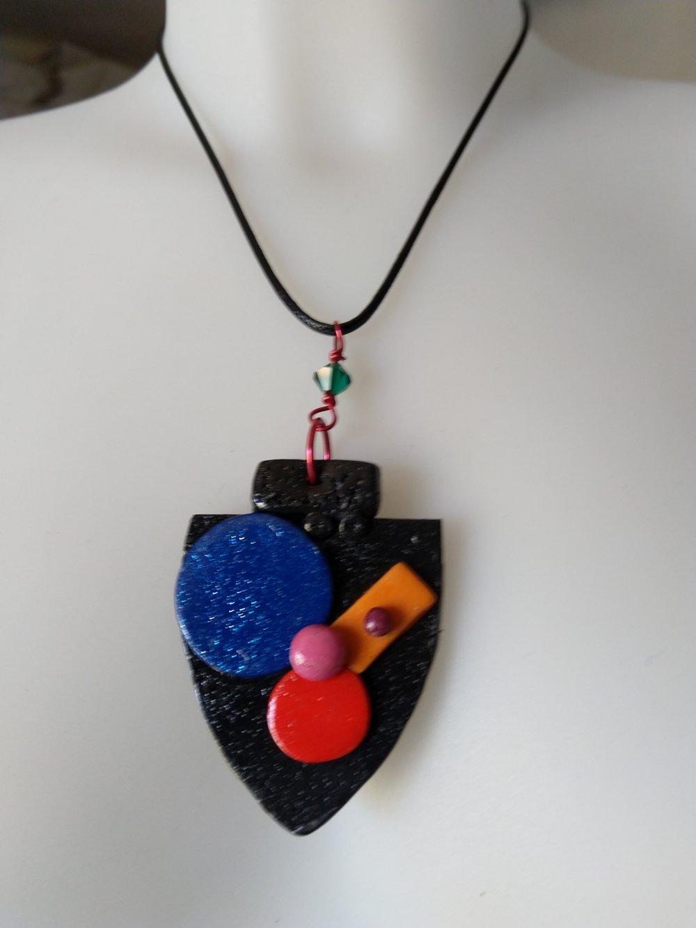 """Collier pendentif fimo  """"fantaisie géométrique""""      -  Livraison offerte  -"""