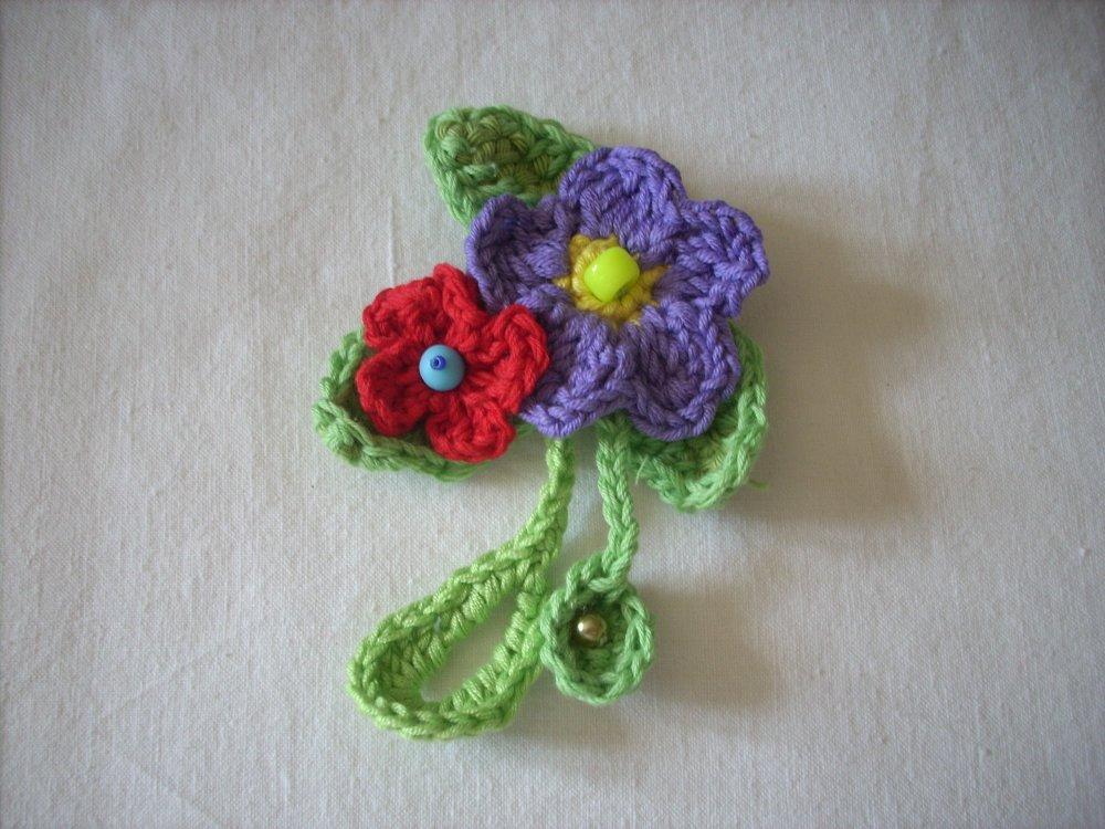 Broche crochet fleurs coton perles swarowski brooch flower flor ganchillo algodón     -  Livraison offerte  -