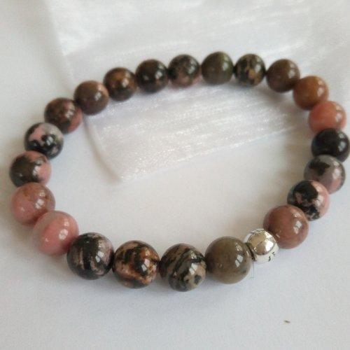 Bracelet femme en pierre de gemme rhodonite perles rondes 8 mm