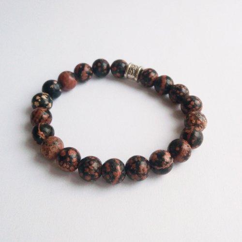Bracelet en perles naturelles rhodonite noire et rose