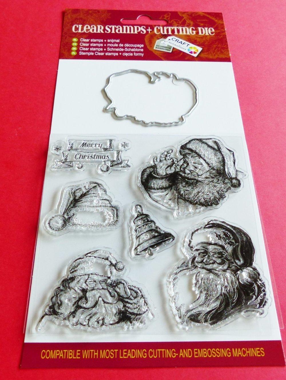 6 tampon transparent  et 1 matrice de découpe Noel Christmas Père Noel bonnet cloche clear stamps and cutting die