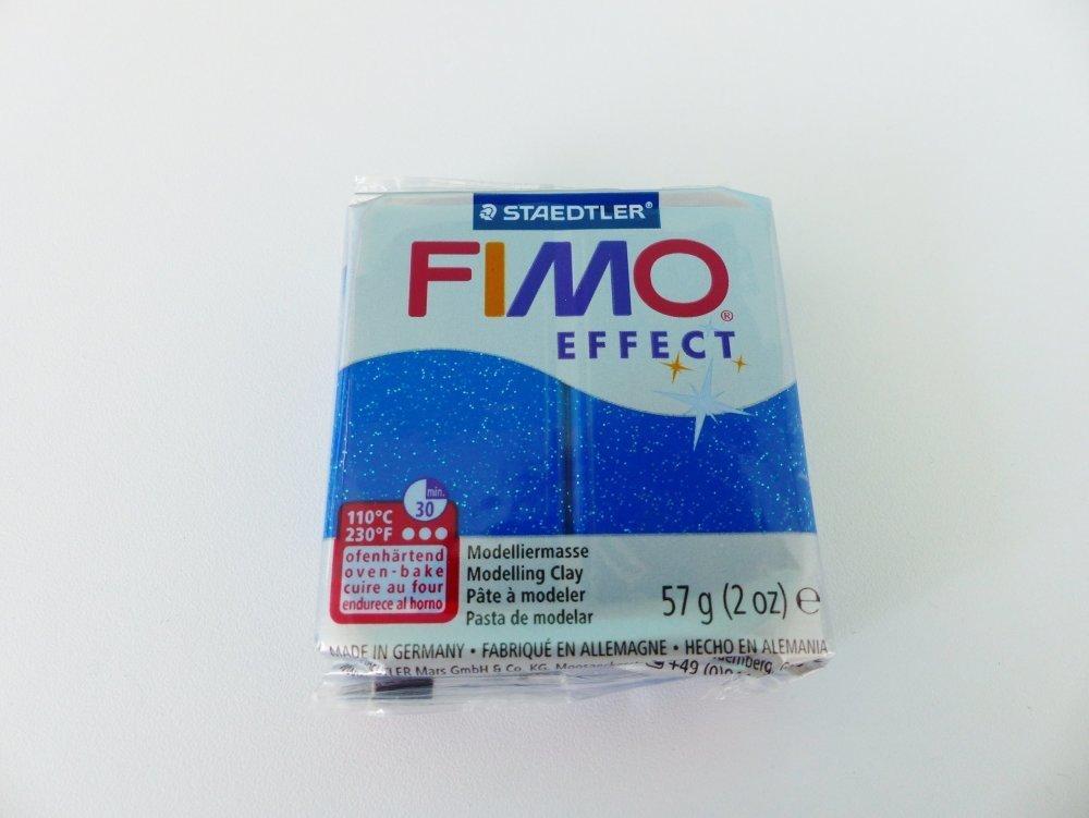 pate polymere FIMO effect bleu pailleté N° 302 glitter paillettes  Staedtler pâte à modeler à cuire