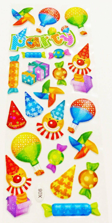 planche de 23 stickers en relief fête cadeau bonbon chapeau pointu autocollant effet tissu gonflés puffy