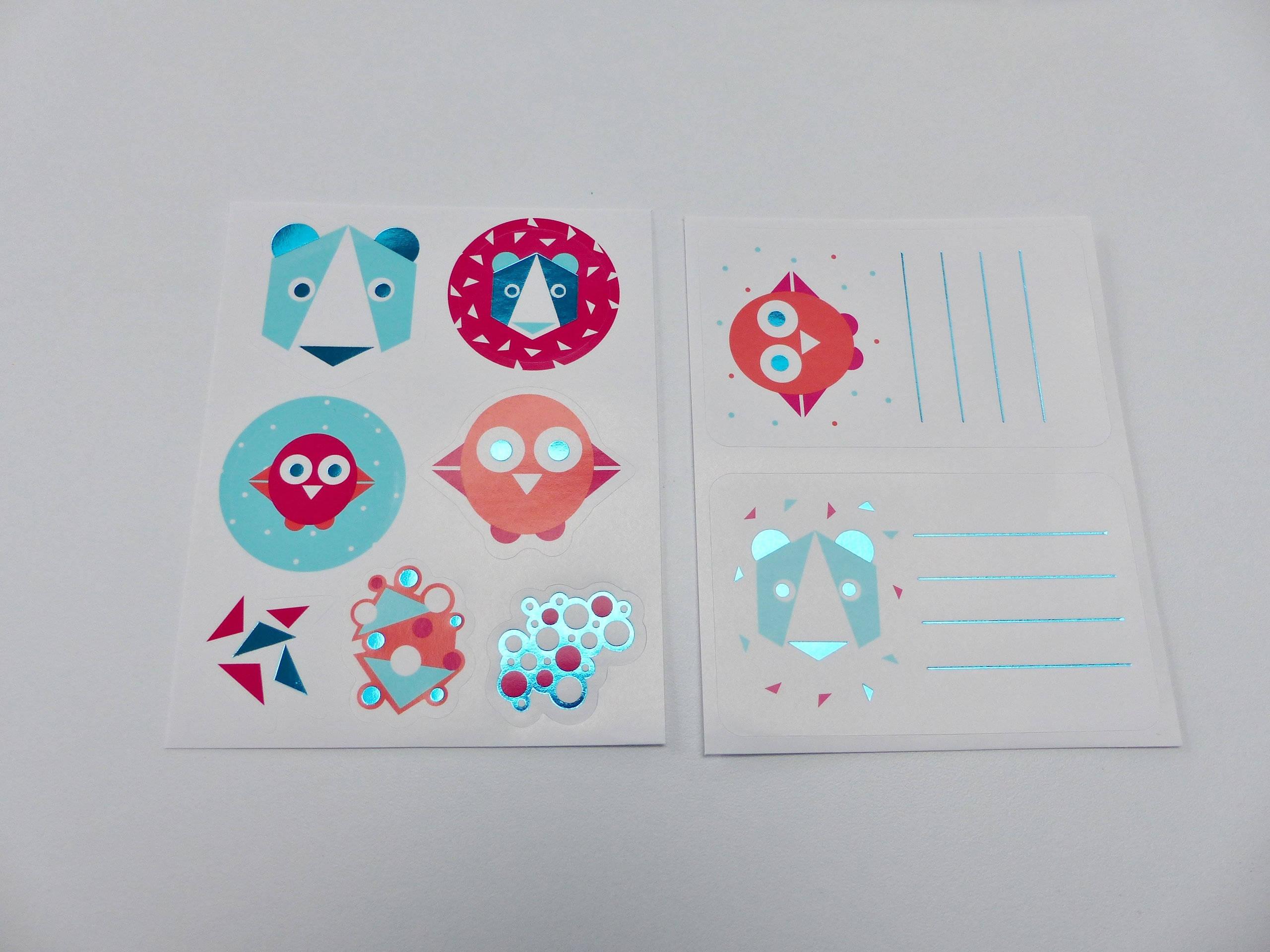 10 planches autocollant étiquette scolaire et sticker animaux animal ours oiseau sticker