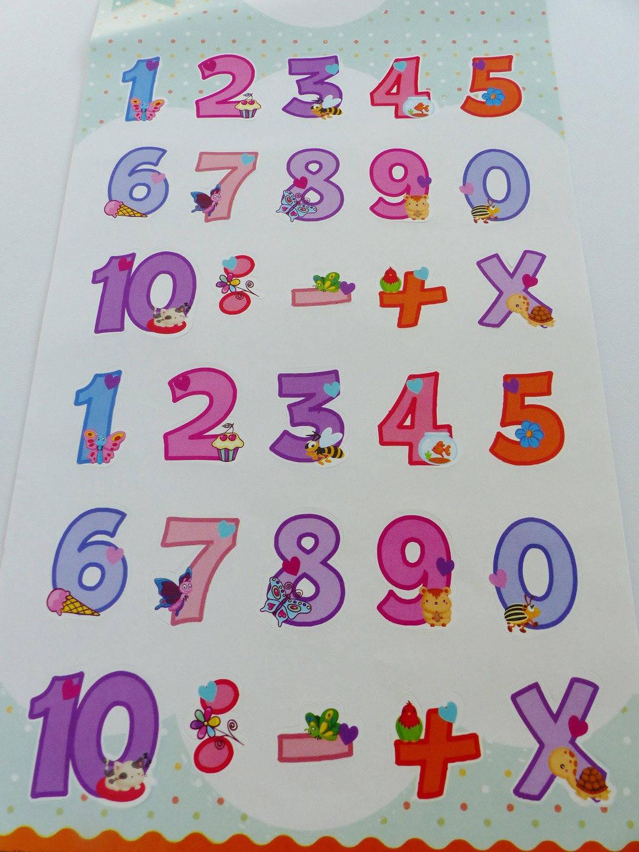 2 planches de stickers chiffres numéros autocollants avec gateau fleur papillon