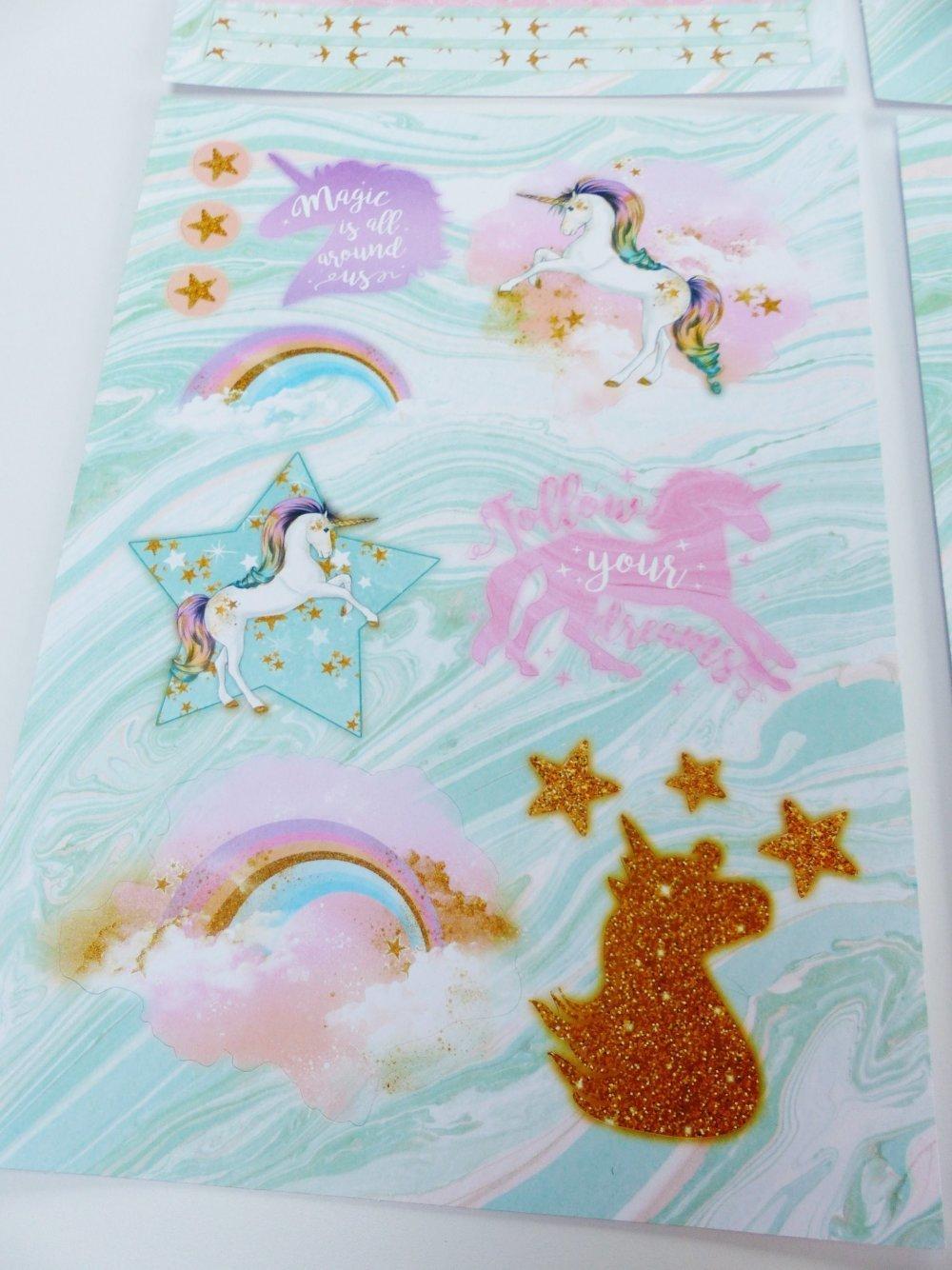 4 feuilles A4 imprimé die cut forme pré découpé licorne arc en ciel etiquette bordure étoile