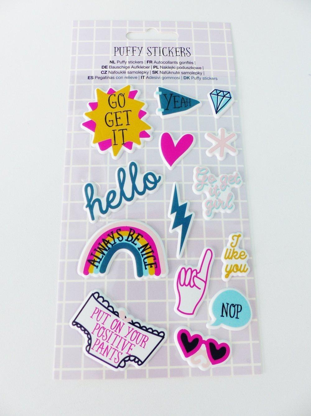 Planche De Puffy Sticker Relief Mot Sentiment Message Coeur Arc En Ciel Eclair Autocollants Gonflés