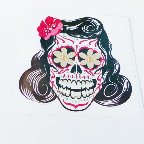 Sticker Tête De Mort Tete Femme Cheveux Colorée Crane