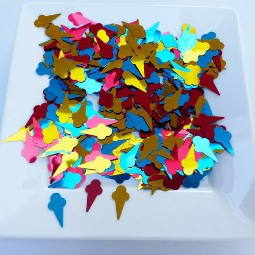 Confetti Cornet De Glace Ice Cream 3 Couleurs Or Bleu Et Rouge Confettis De Table été Gourmandise Dessert Décoration Fête