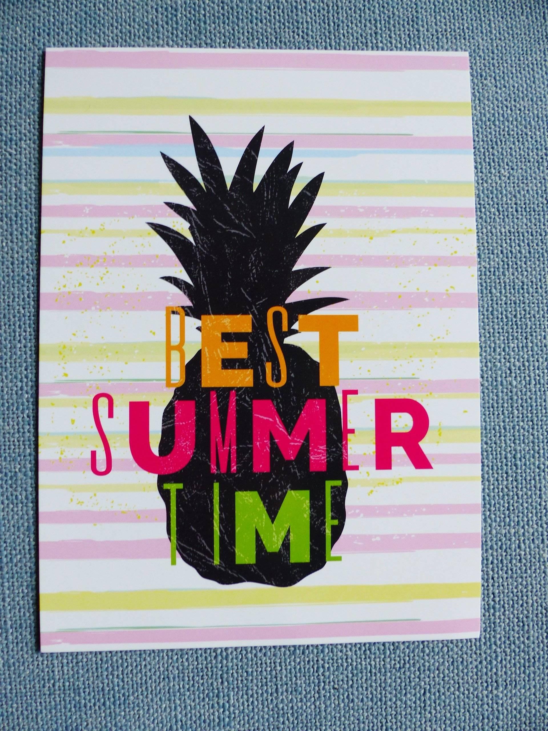 """affiche ananas best summer time 13 x 18 cm 5 x 7 """" pouces à encadrer"""