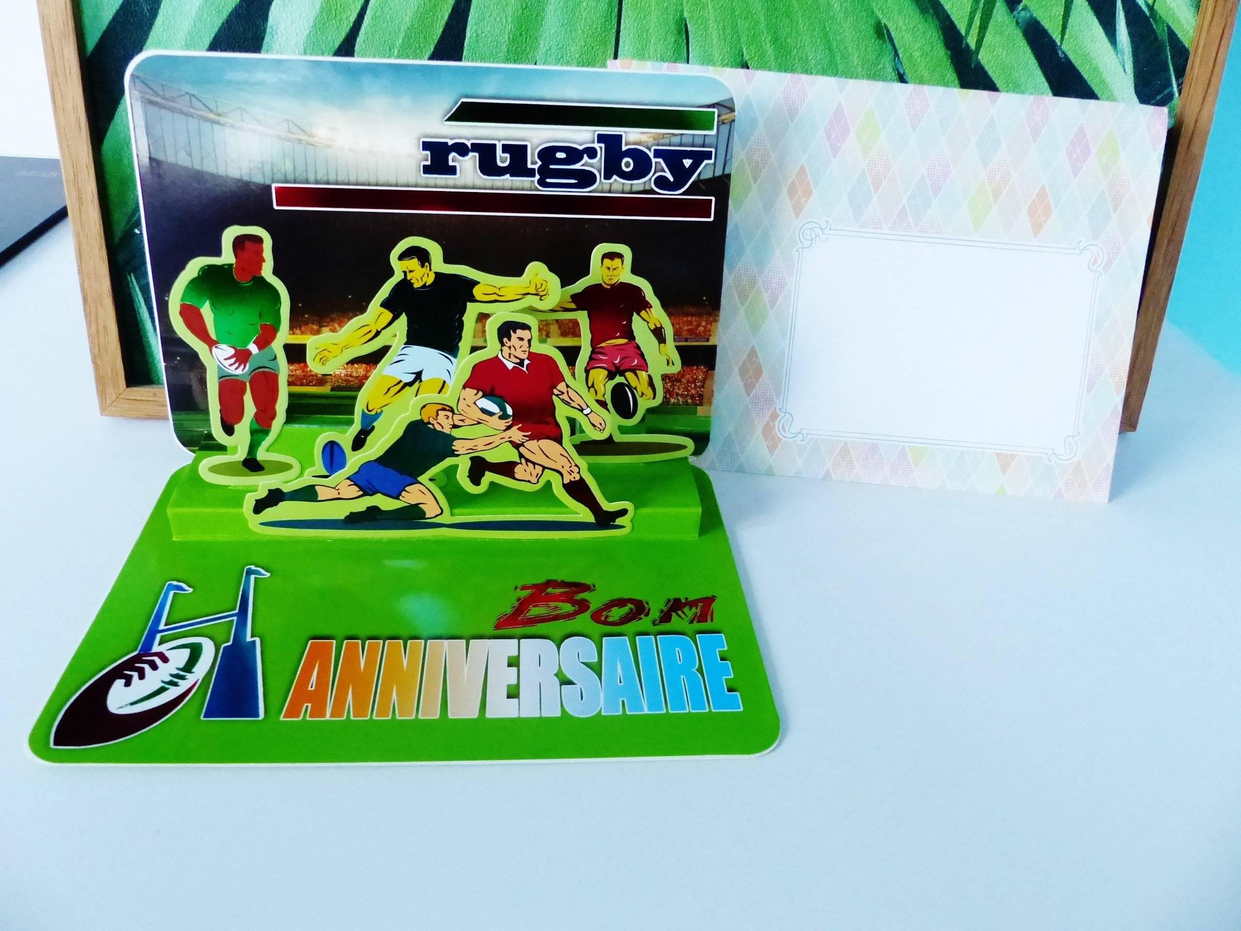 Carte Pop Up Bon Anniversaire Rugby Relief 3d Sport Ballon Avec Enveloppe Fantaisie Un Grand Marche
