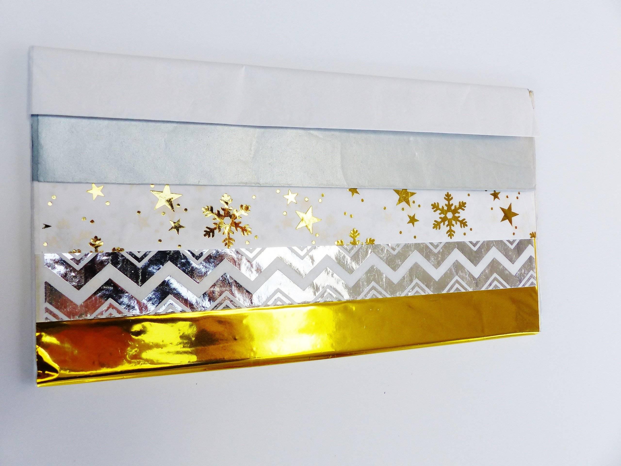 5 feuilles papier de soie 50 x 70 cm or argent blanc étoile flocon de neige uni motif géométrique hiver Noël