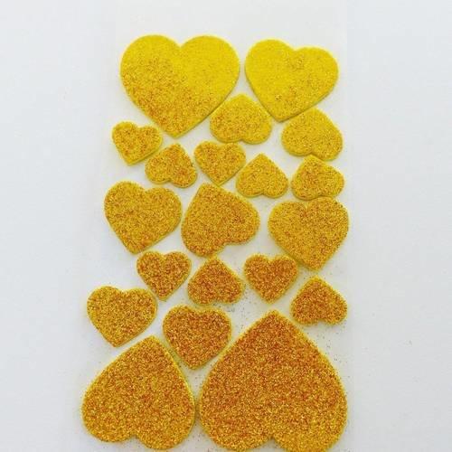 20 autocollant coeur jaune doré, à paillettes, sticker relief