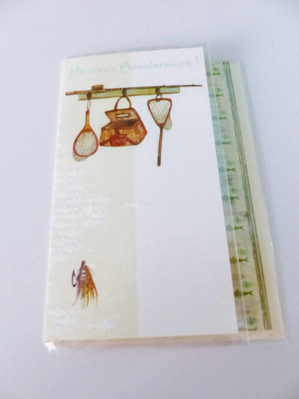 Carte Anniversaire Peche Pecheur Poisson Epuisette Carte Double Avec Enveloppe Un Grand Marche