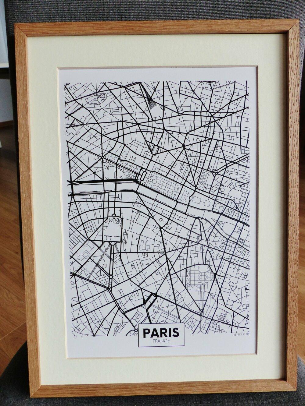 affiche A4  PARIS France  plan de ville city map poster papier cartonné a encadrer