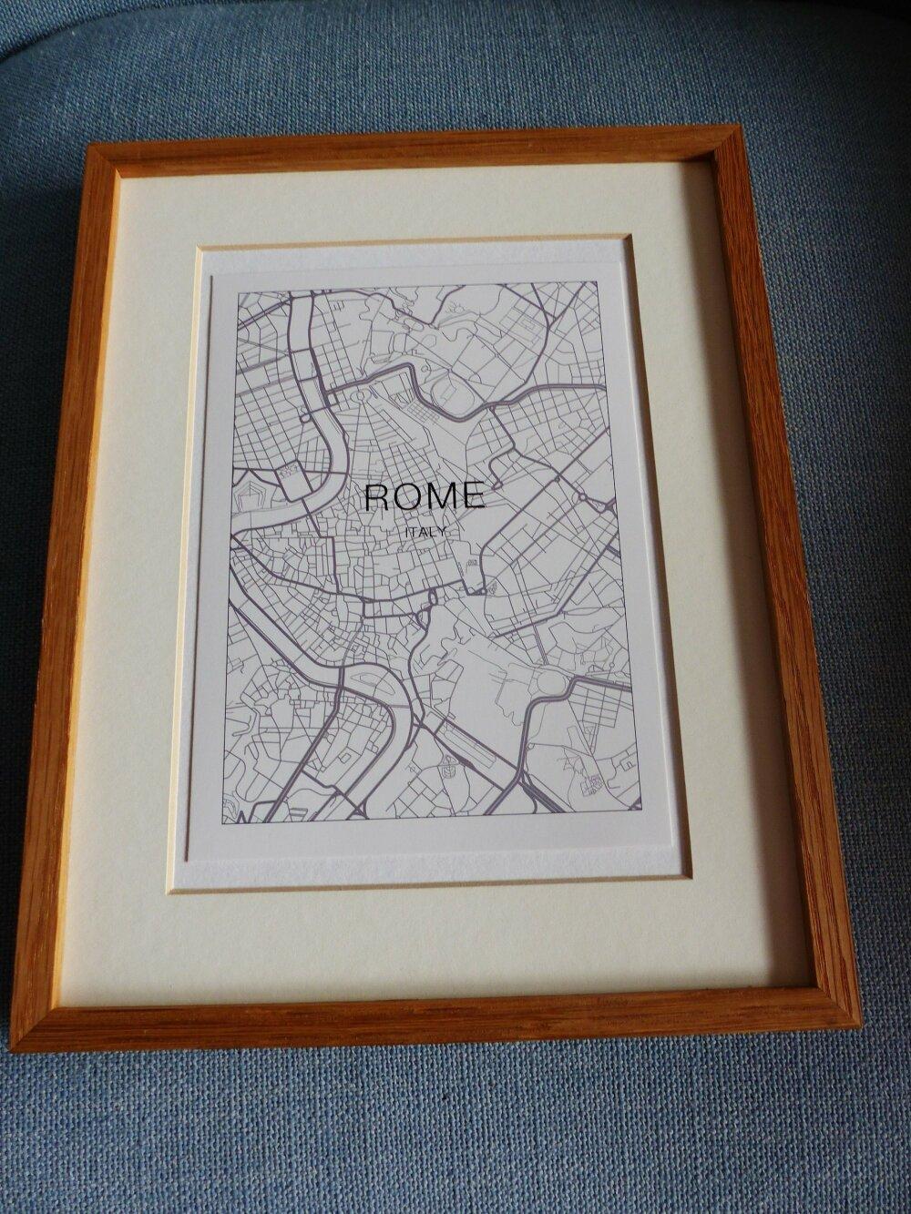 """affiche ROME Italy plan de ville city map   13 x 18 cm 5 x 7 """" papier cartonné pouces à encadrer"""