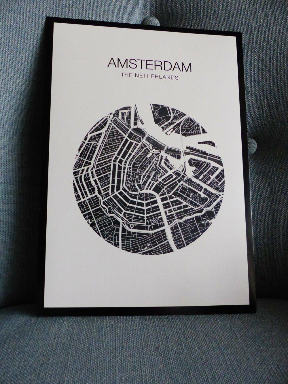 affiche A4  AMSTERDAM plan de ville Pays bas city map poster papier cartonné a encadrer