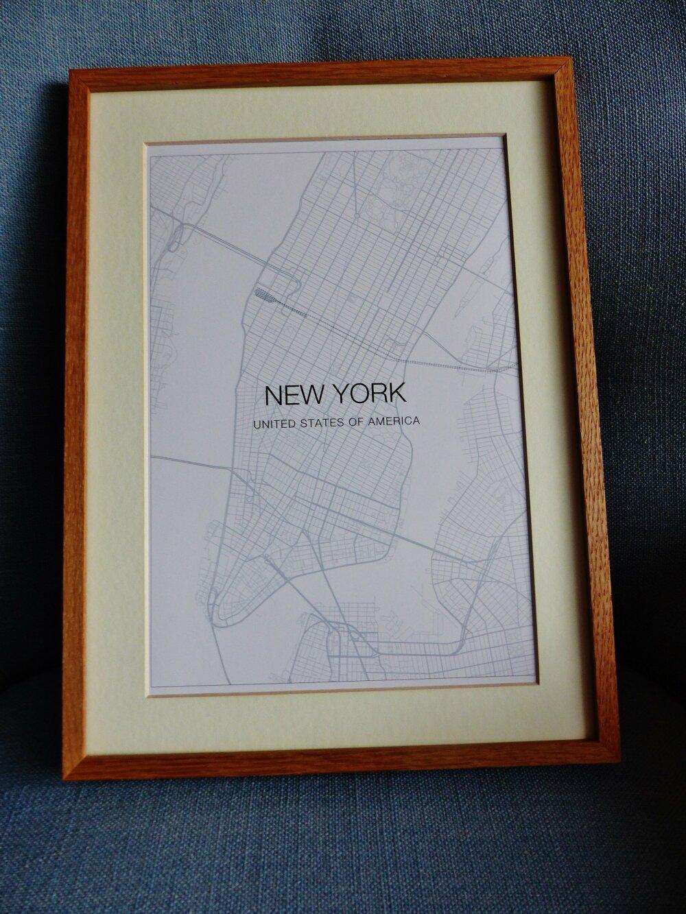 affiche A4  NEW YORK USA  plan de ville city map poster papier cartonné a encadrer