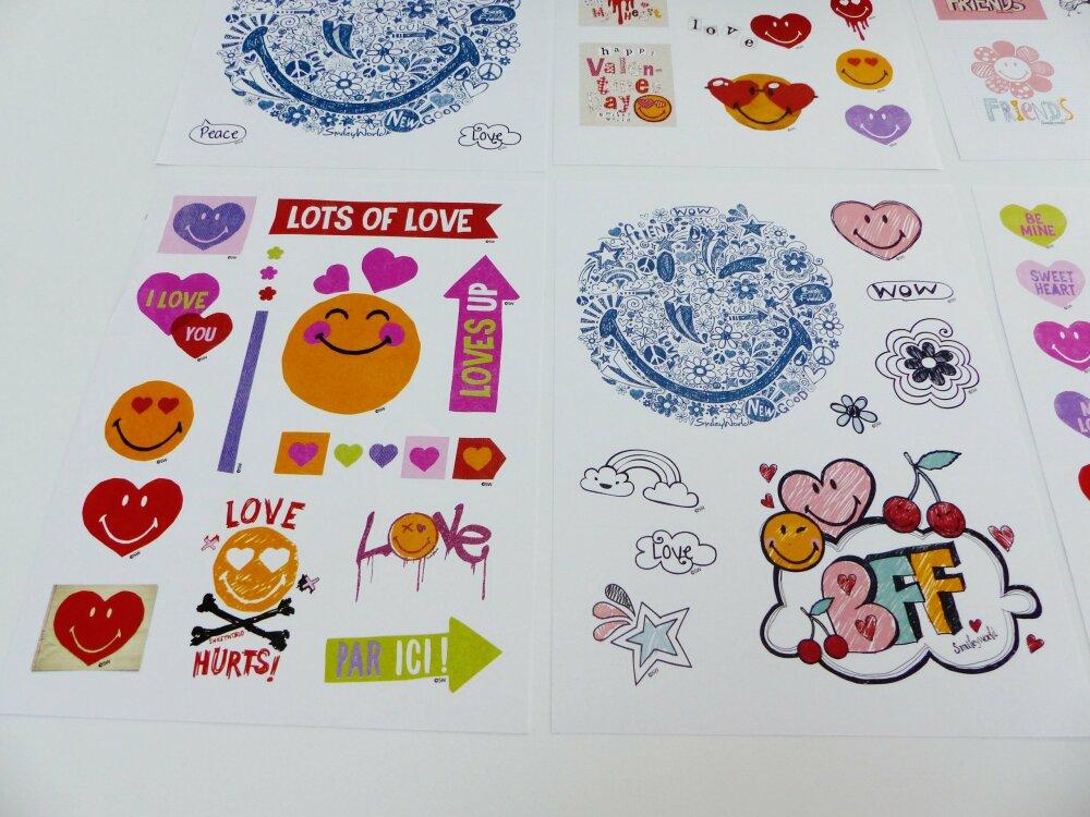 6 planches stickers humeur agenda planning scrapbooking smiley best friends étoile cerise fleurs coeur love  emoji émoticones