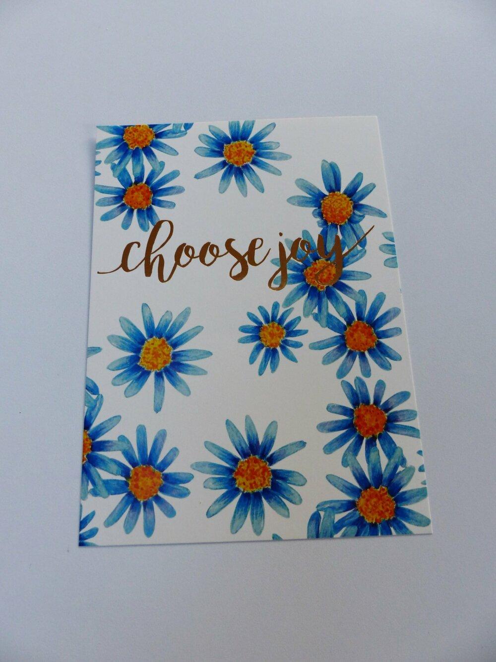 """affiche carte CHOOSE JOY fleur paquerette bleu et or doré  13 x 18 cm 5 x 7 """" inches  à encadrer à envoyer"""