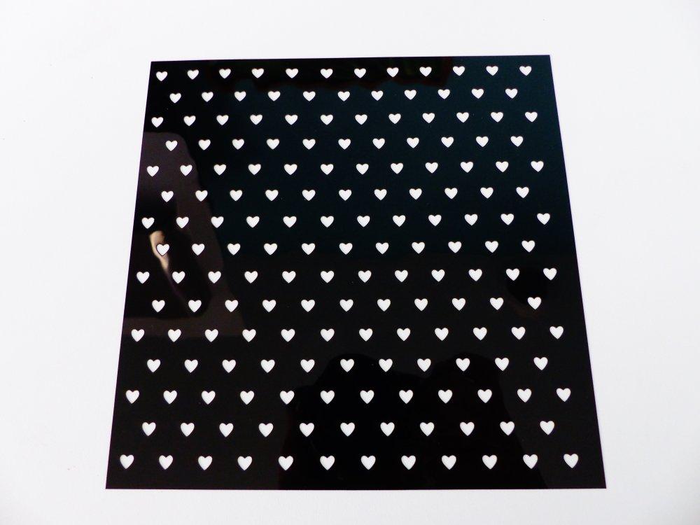 pochoir coeur , souple carré de 15 cm / 6 inches, réutilisable