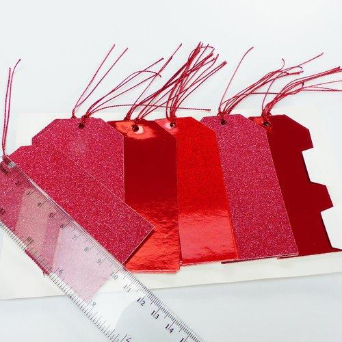 20 grandes étiquettes cadeau, rouge, xxl, brillant paillette, holographique