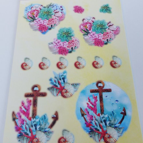 Image prédécoupée, die cut , cactus, succulente, plante, fleur, mer, coquillage, coraux