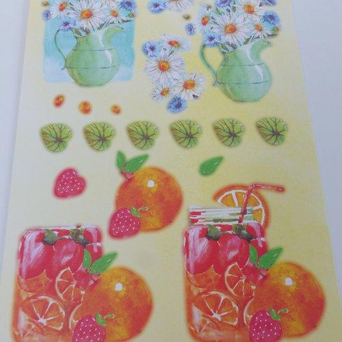 Image prédécoupée, die cut, fleur, fruit, fraise, sangria, marguerite, orange  tropique