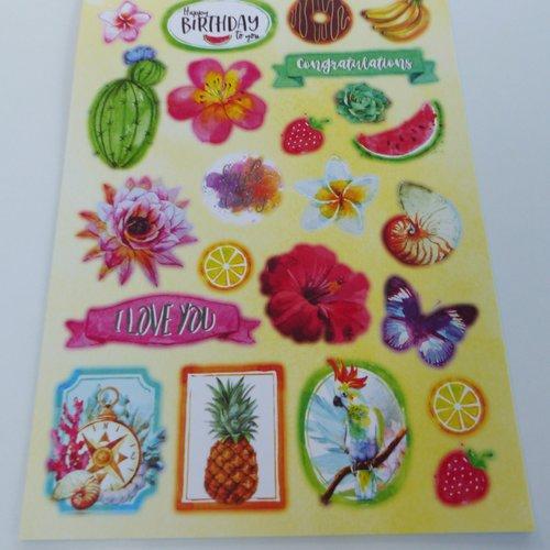 Image prédécoupée, die cut, cactus, perroquet, plante, fruit