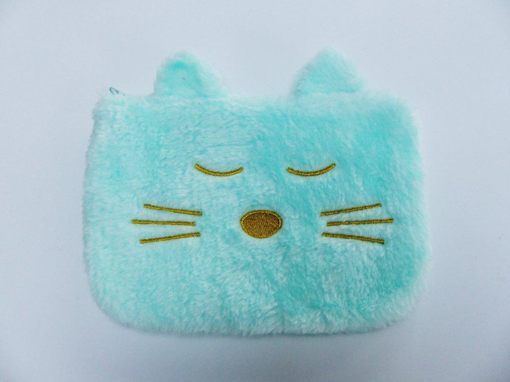 pochette maquillage ou trousse crayon  chat en peluche très doux