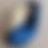 Headband croise en soie bi colore marine/ivoire