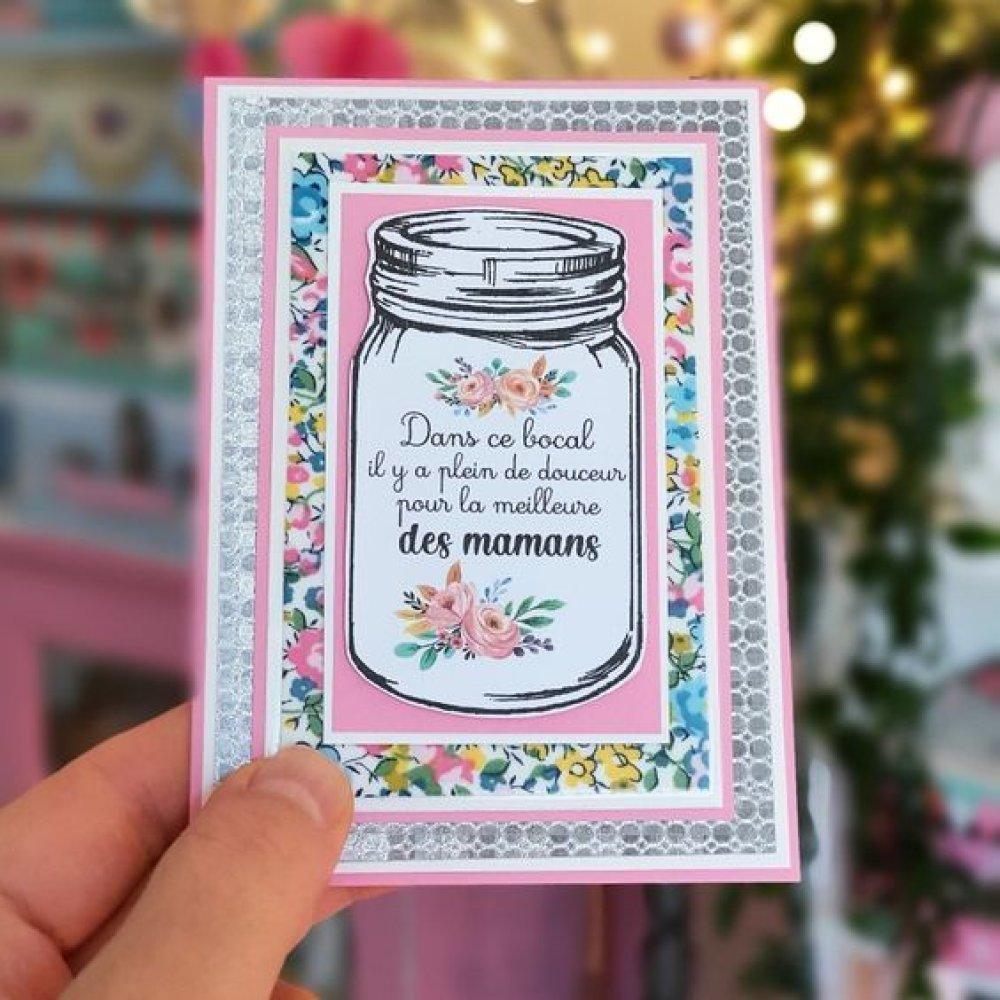 Petite Carte papier et Tissu Liberty Pour sa maman adorée