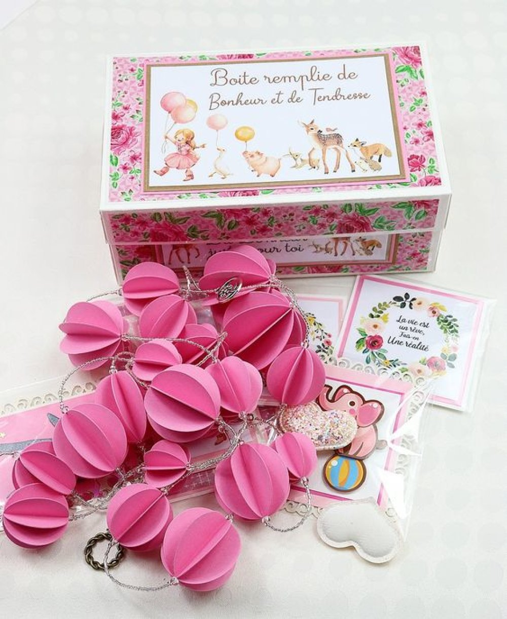 Box cadeau Rose guirlande et Mini cartes