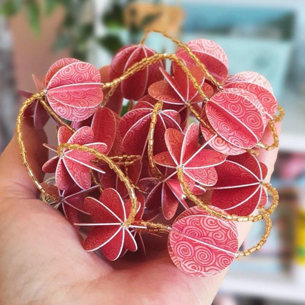 Guirlande de boules en papier Vieux Rose Fantaisie