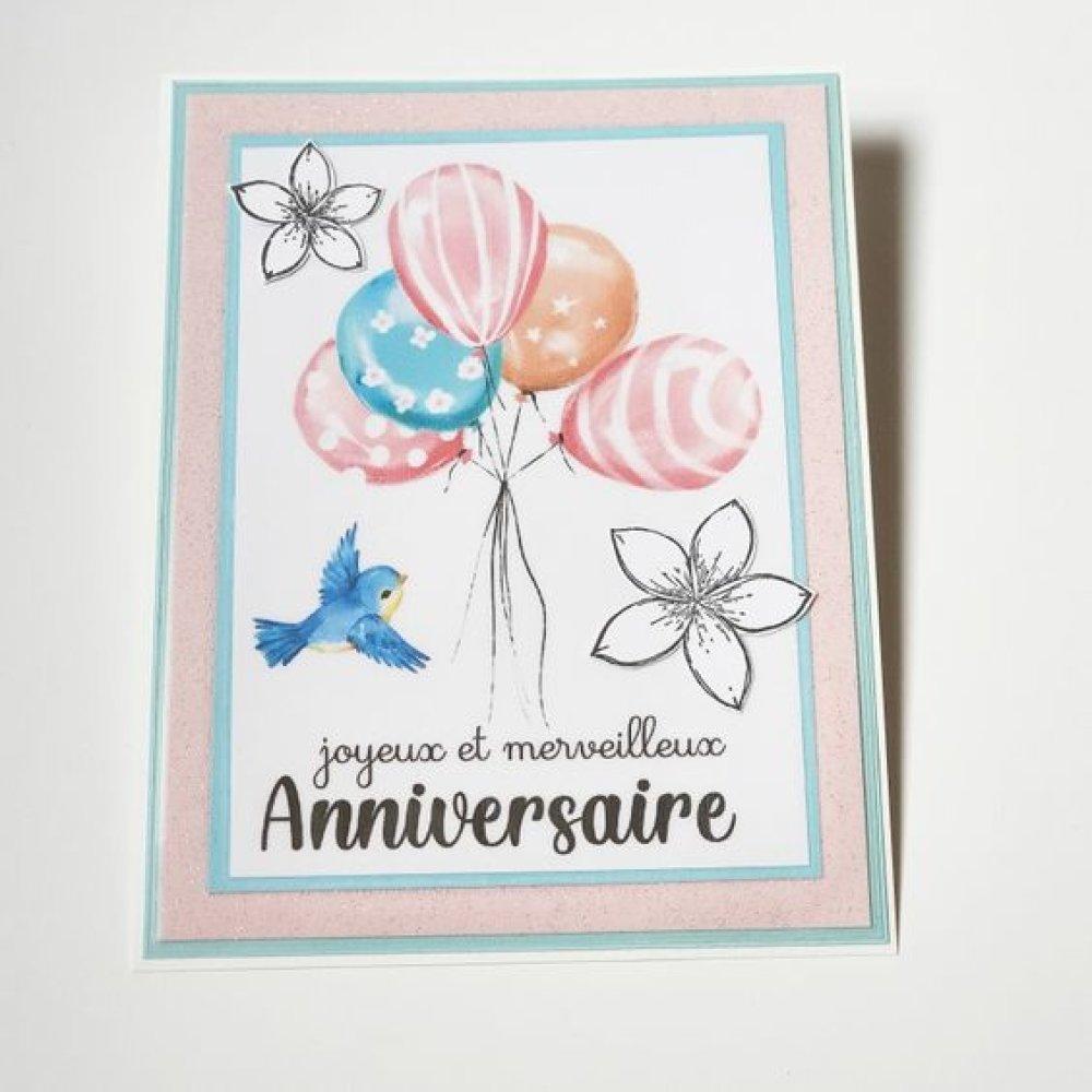 Carte Anniversaire Ballons et oiseau bleu