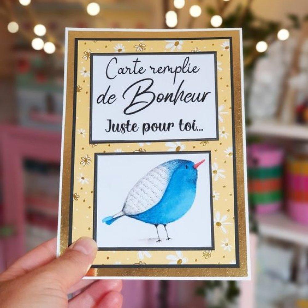 Carte jaune  Bonheur Oiseau bleu