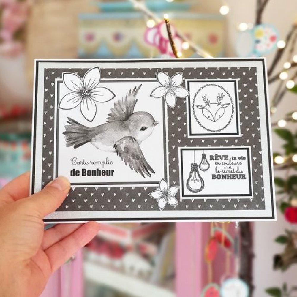 Ensemble Guirlande ronds papier, carte et oiseau noir et blanc