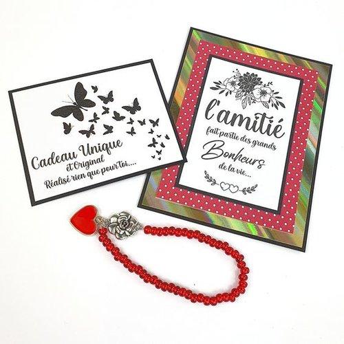 Bracelet fantaisie rouge et carte amitié rouge à pois blancs