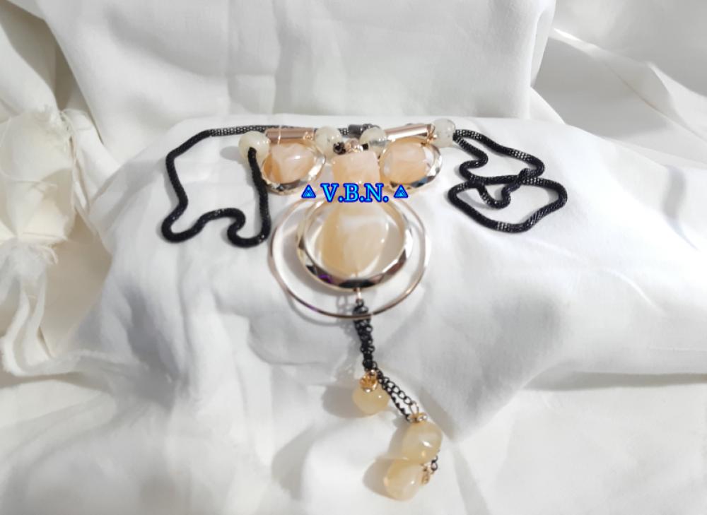 Parure grosses perles acrylique couleur crème