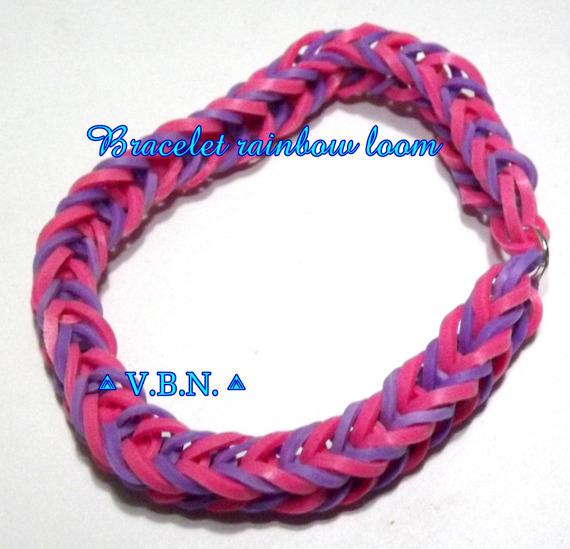 Bracelet élastique raimbow loom fait main rose et violet