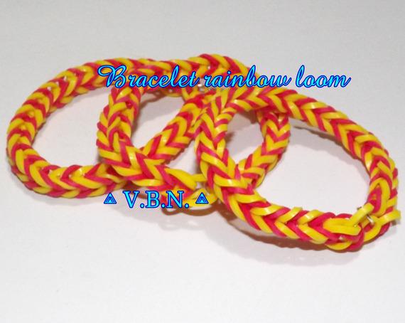 Bracelet élastique raimbow loom fait main rouge et jaune couleur de l'espagne